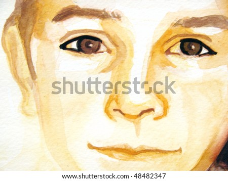 illustrated portrait of little boy | hand made | watercolor | self made - stock photo