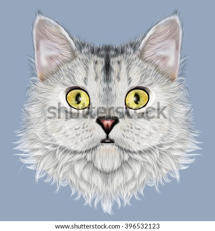 Illustrated portrait of Selkirk Rex cat. Cute face of cute domestic cat on blue background. - stock photo