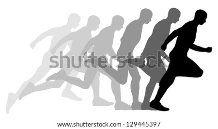 illustrated Sequence of a man running - stock photo