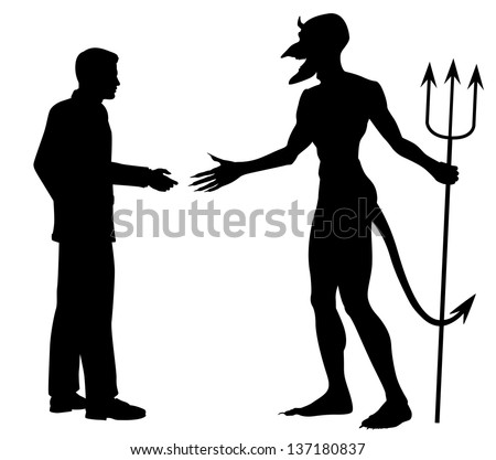 Illustrated silhouette of a man hesitating to shake hands to do a deal with the devil - stock photo