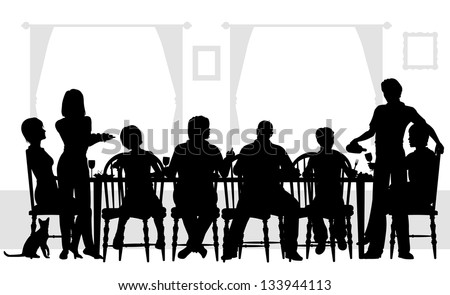 Illustrated silhouettes of a family dining together - stock photo