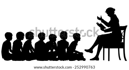Illustrated silhouettes of a female teacher reading a story to her pupils - stock photo