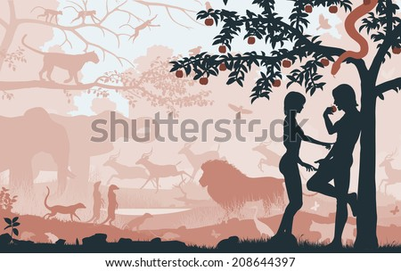 Illustrated silhouettes of Adam and Eve in the Garden of Eden  - stock photo