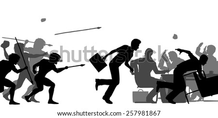 Illustrated silhouettes of cavemen attacking a business meeting - stock photo