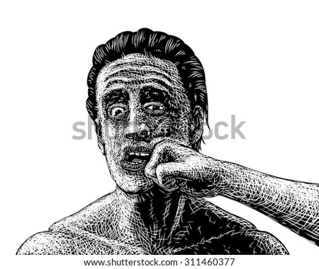 Illustrated sketch of a man being punched in the face - stock photo