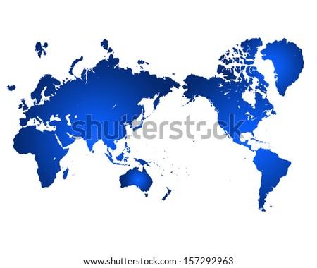 Illustrated world map on white background - stock photo