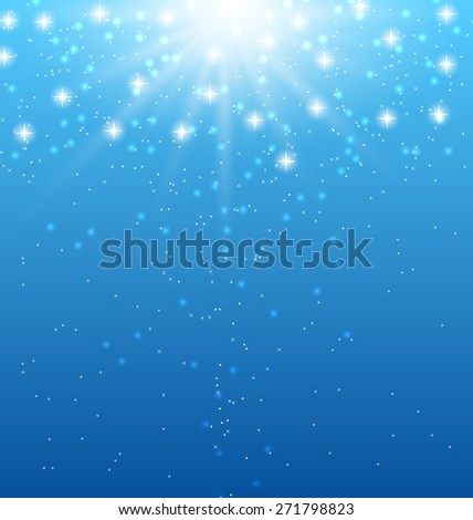 Illustration abstract blue background with sunbeams and shiny stars - raster  - stock photo