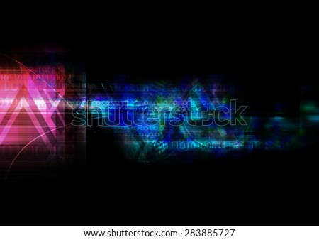 illustration abstract technology background, double exposure - stock photo