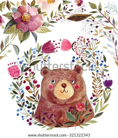 Illustration: adorable bear in watercolor technique. Beautiful card with cute little bear. - stock photo