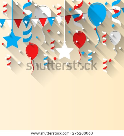 Illustration American patriotic background with balloons, streamer, stars and pennants, in US national colors. Wallpaper for Independence day, trendy flat style with long shadow style - raster - stock photo