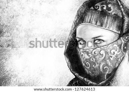Illustration art, woman dressed in Arab costume, desert in the background - stock photo
