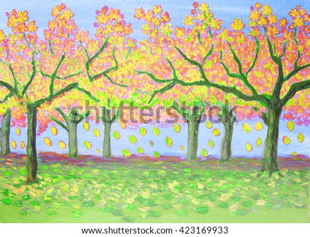 illustration, Autumn landscape, garden with trees in yellow and red leaves, - stock photo
