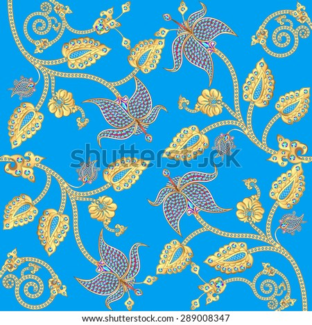 illustration background with gold ornaments and precious stones - stock photo