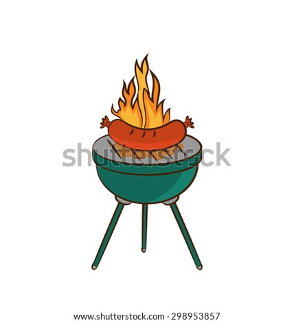 Illustration barbecue with sausage and flame - raster - stock photo