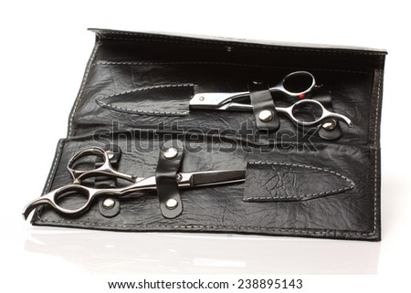 Illustration barber scissors isolated on white background. - stock photo