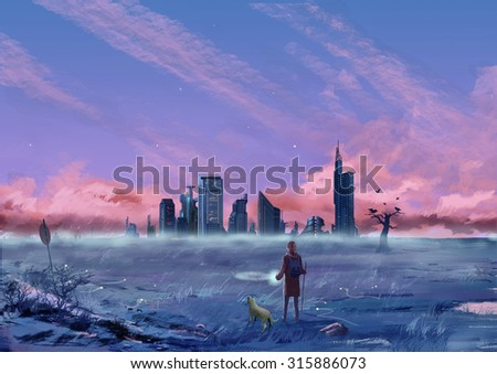 Illustration: Between the City and the Wilderness. The Young Man walks with his dog. Fantastic Cartoon Style Scene Wallpaper Background Design with Story. - stock photo