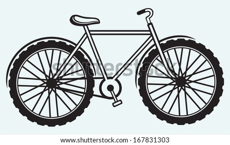 Illustration bicycle isolated on blue background. Raster version - stock photo