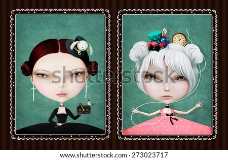Illustration Black White with two fairy tale characters - stock photo