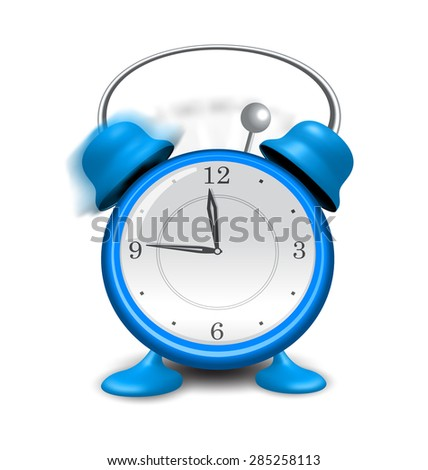Illustration blue alarm clock close up, isolated on white background - raster - stock photo
