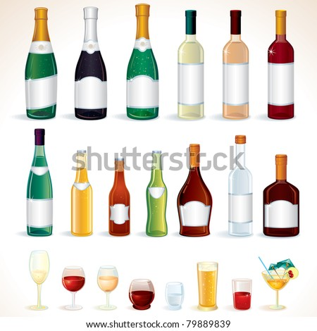 Illustration Bottles and Glasses with Various alcoholic drinks, icons isolated on white background - stock photo