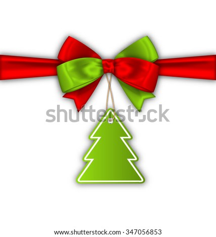 Illustration Bow Ribbon with Christmas Tree Label - raster - stock photo