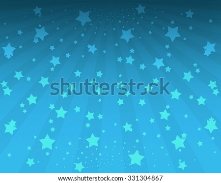 Illustration bright stars with sunbeams. Bright stars on blue background. Abstract bright background with stars - stock photo