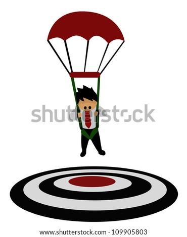 Illustration - Business concept.He focused on a target  with parachute. - stock photo