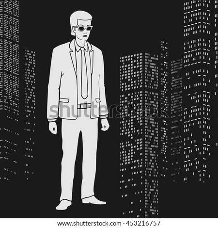 Illustration Businessman in the city - stock photo