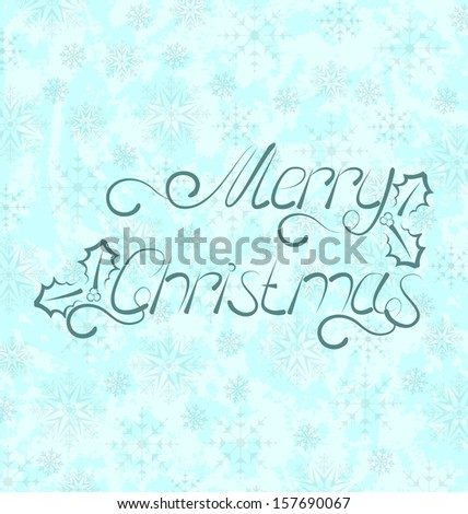 Illustration calligraphic Christmas lettering, snowflakes texture - raster - stock photo