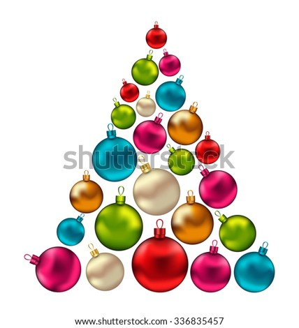 Illustration Christmas Abstract Tree made in Colorful Balls, Isolated on White Background - raster - stock photo