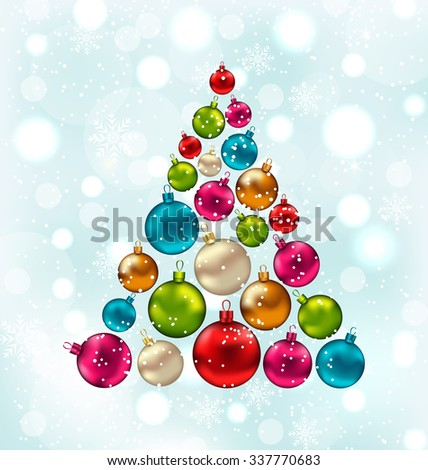 Illustration Christmas Abstract Tree Made in Colorful Balls, Snowing Background - raster - stock photo
