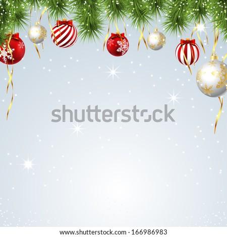 Illustration Christmas background with balls.  - stock photo
