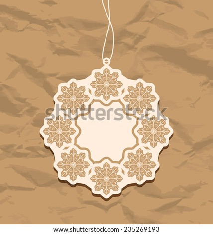 Illustration Christmas blank badge, vintage style - raster - stock photo