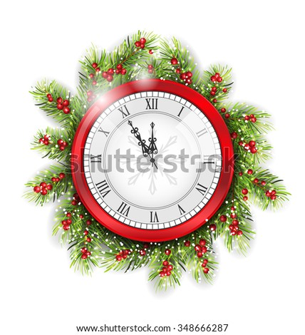 Illustration Christmas Fir Branches with Clock, New Year Decoration on White Background - raster - stock photo