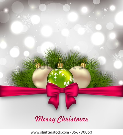 Illustration Christmas Shimmering Postcard with Fir Branches and Glass Balls - raster - stock photo