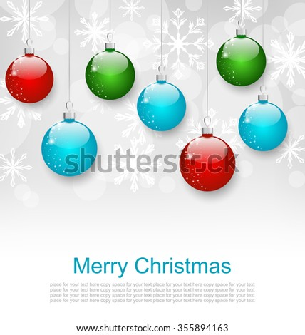 Illustration Christmas Snowflakes Background with Set Colorful Balls - raster - stock photo