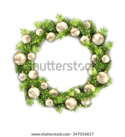 Illustration Christmas Wreath with Balls, New Year and Christmas Decoration, Isolated on White Background - raster - stock photo