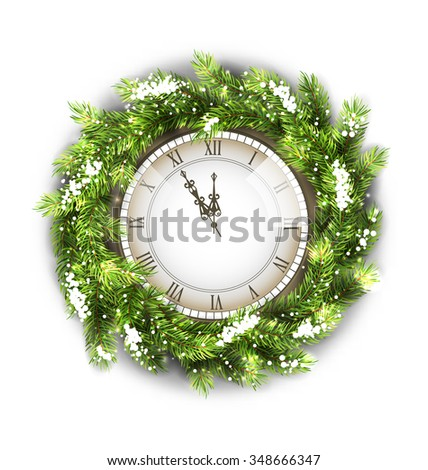 Illustration Christmas Wreath with Clock, New Year Decoration on White Background - raster - stock photo
