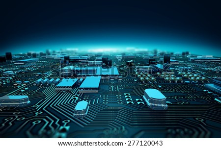 illustration circuit board depth of field - stock photo