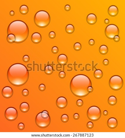 Illustration clean water droplets on orange surface - raster - stock photo