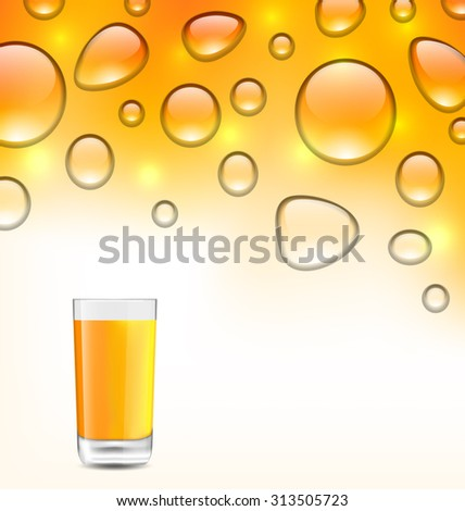 Illustration Clean Water Droplets with Orange Juice with Glass, Orange Background - raster - stock photo