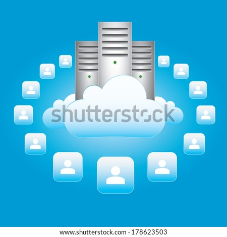 Illustration - cloud computing and connectivity concept - stock photo