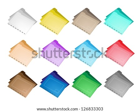 Illustration Collection of Colorful File Folder Icons for Backups and Storing of Data - stock photo