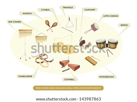 Illustration Collection of Different Sections of Percussion Table Holding Small Percussive Instruments for Symphony Orchestra Concert  - stock photo