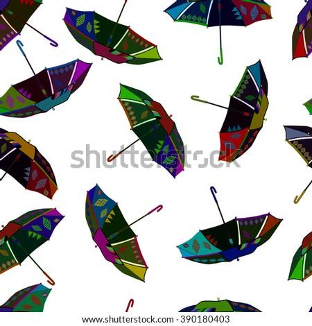 illustration colorful fly, soaring umbrellas background.  - stock photo