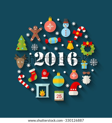 Illustration Colorful Simple Flat Icons with Long Shadows for Happy New Year 2016 - raster - stock photo