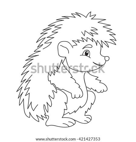 illustration,Coloring book cute hedgehog isolated animal - stock photo