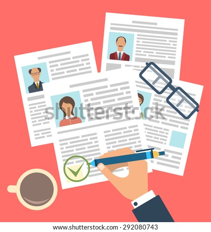 Illustration Concept of Human Resources Management, Finding Professional Staff, Flat Simple Icons - raster - stock photo