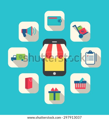 Illustration Concept of Online Shop, E-commerce, Colorful Simple Icons - raster - stock photo