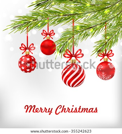 Illustration Congratulation Postcard with Fir Branches and Blue Glassy Balls for Merry Christmas - raster - stock photo